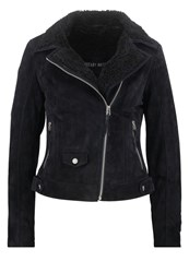 Freaky Nation Teddygirl Leather Jacket Navy Black Dark Blue