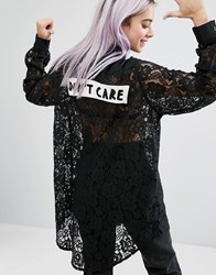 Lazy Oaf Don't Care Lace Longline Shirt Black