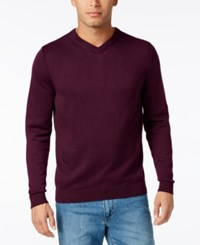 Tommy Bahama Men's V Neck Ribbed Trim Sweater Aged Claret
