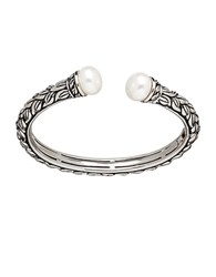 Honora 10.5 11Mm White Cultured Pearl Bangle Bracelet Sterling Silver