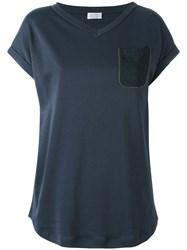 Brunello Cucinelli Chest Pocket T Shirt Blue