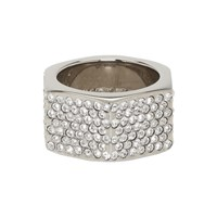 Off White Silver Crystal Big Ring
