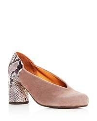 Chie Mihara Ante Amazon Suede And Snake Embossed Leather Block Heel Pumps Grey