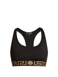 Versace Logo Print Performance Bra Black Gold