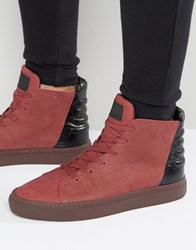Religion Croc Hi Top Trainers Red