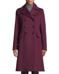Fleurette Double Breasted Wool Walker Coat Aubergine