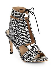 Loeffler Randall Anaconda Leather Lace Up Sandals Black White