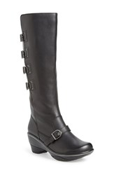 Women's Jambu 'Firery' Water Resistant Knee High Buckle Boot Black Leather