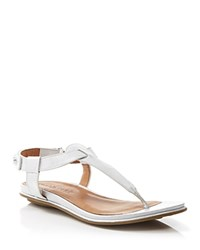 Gentle Souls Flat Thong Sandals Metallic T Strap Silver