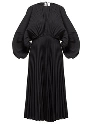 Valentino Pleated Cotton Twill Dress Black