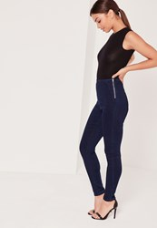 Missguided High Waisted Jeggings Blue