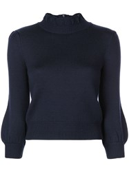 Co Bubble Sleeves Knit Sweater Blue