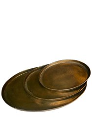 Pols Potten Antique Brass Set 3 Oval Trays Gold