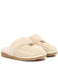 Ugg Shearling Lined Knitted Slippers Beige