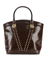 Versace Grommet Leather Lined Tote Brown