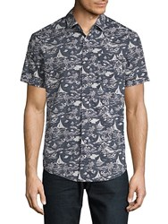 Report Collection Island Tropical Cotton Button Down Shirt Navy