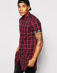 Asos Longline Shirt In Short Sleeve With Double Check Red