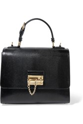 Dolce And Gabbana Monica Medium Lizard Effect Leather Tote Black