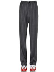Versace Pinstriped Wool Trousers Grey