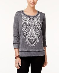 Style And Co Petite Patterned Sweatshirt Created For Macy's Floral Direction