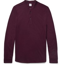 Aspesi Cotton Jersey Henley T Shirt Burgundy