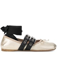 Miu Miu Ankle Ribbon Ballerinas Metallic