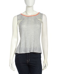 Stella And Jamie Mixed Media Split Hem Tank Heather Gray