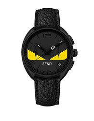Fendi Momento Bug Chronograph Leather Watch Black