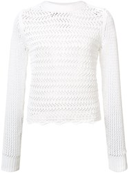 3.1 Phillip Lim Long Sleeve Crochet Top White