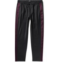 Club Monaco Black Tapered Webbing Trimmed Wool Blend Drawstring Trousers