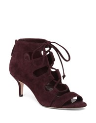 Delman Tryst Suede Lace Up Sandals Burgundy