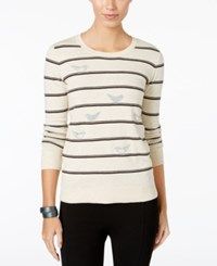 G.H. Bass And Co. Striped Bird Print Sweater Heather Parchment Combo