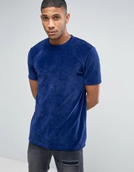 Asos Longline T Shirt In Blue Velvet Navy