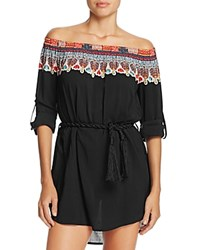 Red Carter Off The Shoulder Belted Dress Swim Cover Up Black Multi