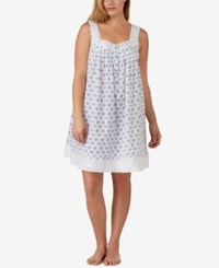 Eileen West Plus Size Eyelet Trimmed Cotton Nightgown White Blue Print