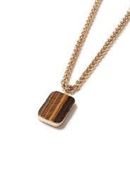 Topman Gold Look And Brown Stone Pendant Necklace
