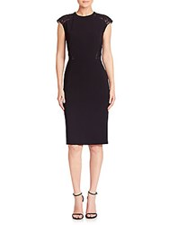 Lafayette 148 New York Sleek Tech Cloth Lace Inset Talon Dress Black