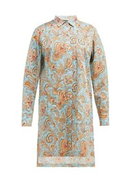 Etro Paisley Print Cotton Poplin Shirtdress Light Blue