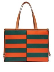 Loewe Cushion Large Striped Leather Tote Bag Orange Multi