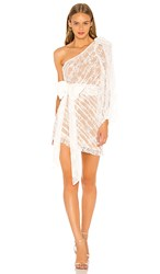 For Love And Lemons Dynasty One Shoulder Dress In White. White Lace