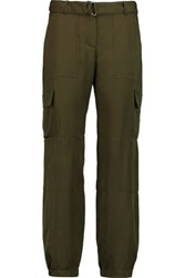 Theory Hannon Silk Tapered Pants Army Green