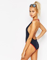 Majestic New York 03 Cross Back Swimsuit Navy