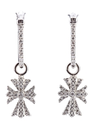 Elise Dray Diamond Cross Earrings Metallic