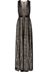 Alice Olivia Sybil Leather Trimmed Lace Maxi Dress