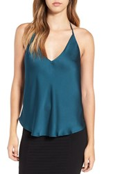 Astr Women's Satin T Back Camisole Teal