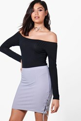 Boohoo Lace Up Side Ribbed Mini Skirt Silver