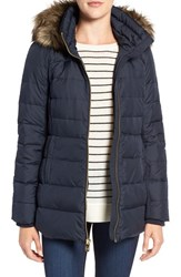 Michael Michael Kors Women's Hooded Down And Feather Fill Coat With Faux Fur Trim New Navy