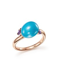 Pomellato Capri Ring With Turquoise Ceramic And Amethyst In 18K Rose Gold Blue Rose