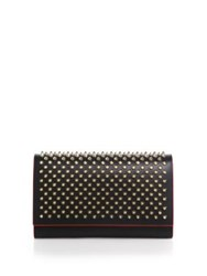 Christian Louboutin Paloma Spiked Convertible Leather Clutch Black