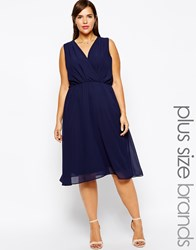 Truly You Wrap Front Midi Dress Navy